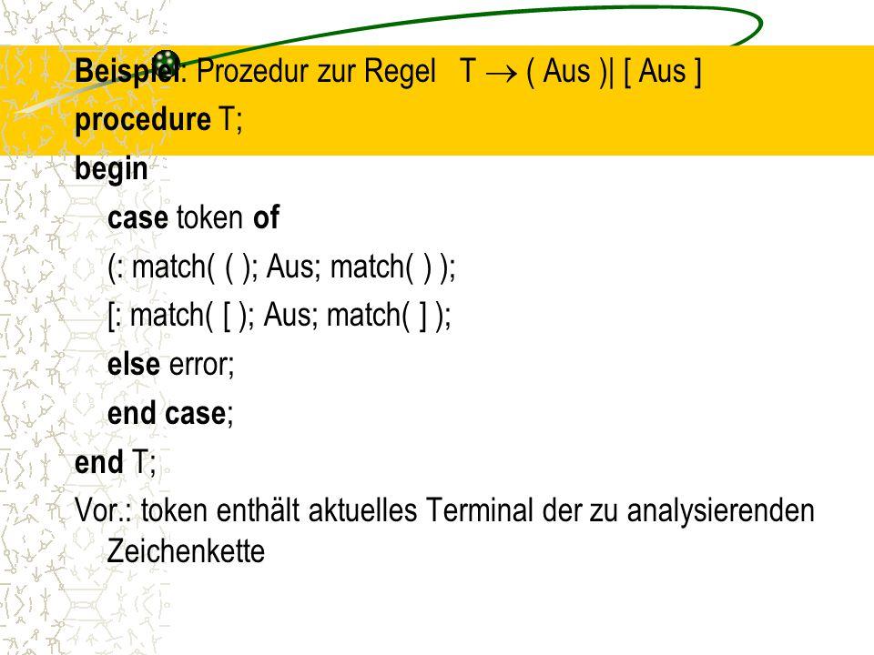Beispiel: Prozedur zur Regel T  ( Aus )| [ Aus ] procedure T; begin case token of (: match( ( ); Aus; match( ) ); [: match( [ ); Aus; match( ] ); else error; end case; end T; Vor.: token enthält aktuelles Terminal der zu analysierenden Zeichenkette